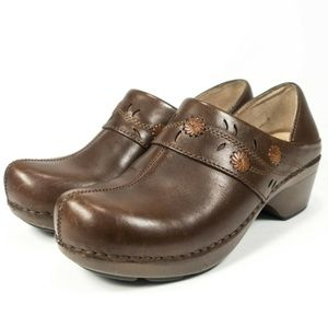 Dansko Summer Floral Brown Leather Clogs